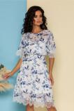 Cumpara ieftin Rochie Adelina alba cu imprimeuri florale bleu