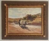 """Reproducere dupa celebra pictură """"Car cu boi"""" de Nicolae Grigorescu"""