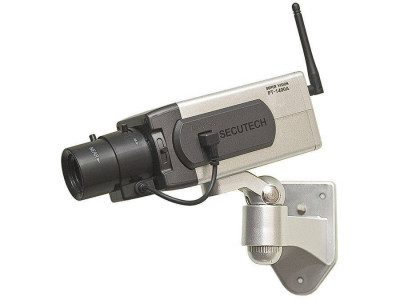 Camera de supraveghere falsa Generic URZ0670 Dummy Functioneaza cu baterii 3 x AA Senzor de miscare LED rosu intermitent foto