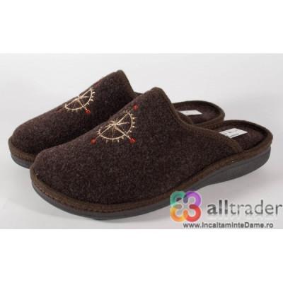 Papuci de casa maro din lana pentru barbati/barbatesti (cod 191047) foto