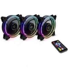 Set 3 ventilatoare Inter-Tech Alseye Halo 3.0 RGB LED
