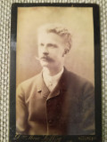 Foto foarte veche CDV carton, Marie Szollosy, Bucureșci, portret bărbat