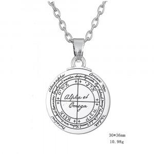 Pandantiv pentagrama Sigiliul lui SolomonAlfa si Omega amuleta talisman totem