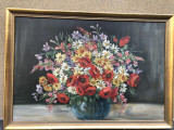 Tablou vechi german,pictura in ulei vaza cu ,flori,rama din lemn