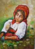 Pictura fata semnat Cimpoesu., Portrete, Ulei, Realism
