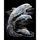 Set gravura pe folie argintie - Delfini