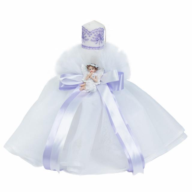 Lumanare botez rochita, fundita LILA si ingeras, Denikos® 509