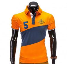 Tricou pentru barbati polo, portocaliu, logo piept, slim fit, casual - S506 foto