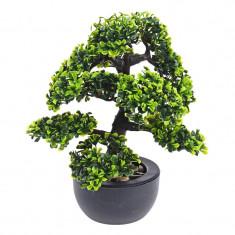 Bonsai Artificial cu frunza verde deschis si inchis in ghiveci Negru pentru interior sau exterior Rezistent la umiditate 31cm
