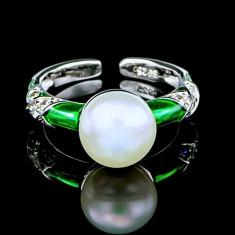 Inel din Argint 925 cu Perla Naturala si Diamante, Sonia