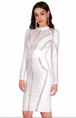 Rochie Bandage Albă cu Cristale foto