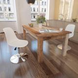 VidaXL Scaune de bucătărie pivotante, 2 buc., alb, piele ecologică