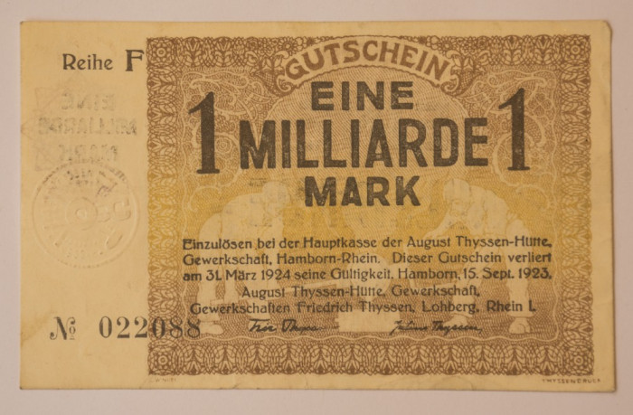 1 milliarde/ miliard, 1923 Notgeld Germania