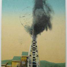 "Campina - Eruptiunea unei sonde ""Steaua Romana"" (sonda nr. 45), circulata 1927"