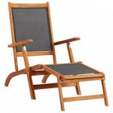 Șezlong, lemn masiv de acacia și textilenă