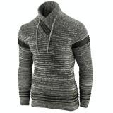 Pulover pentru barbati, gri inchis, guler inalt, flex fit, casual - Alaska Hutte
