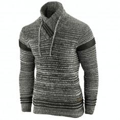 Pulover pentru barbati gri inchis guler inalt flex fit casual Alaska Hutte