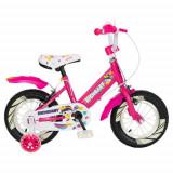 Bicicleta Copii Rich Baby R1408A, roti 14inch, frana C-Brake, roti ajutatoare cu LED (Roz/Alb)
