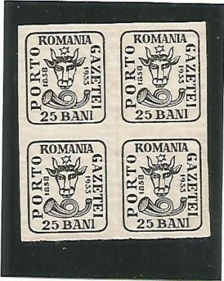 (No2)-timbre-(L.P.102)-Romania Aniversarea 75 de ani cap de bour- bloc 4 val foto