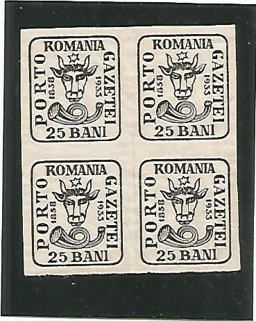 (No2)-timbre-(L.P.102)-Romania Aniversarea 75 de ani cap de bour- bloc 4 val