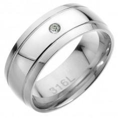 Inel din oțel - două dungi paralele, zirconiu transparent în mijloc - Marime inel: 70