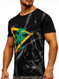 Tricou cu imprimeu bărbați negru Bolf KS1943T