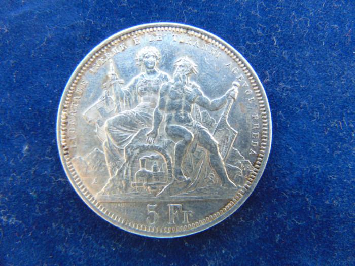 Moneda argint 5 Francs 1883 Elvetia, cn (91), 25 gr, tiraj 30.000