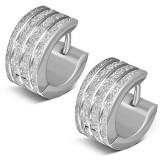 Cercei argintii din oţel inoxidabil, linii verticale sclipitoare