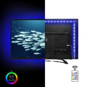 Kit banda LED pentru iluminare TV, alimentare USB, cu telecomanda, lungime 2 m