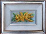 Tablou – frumoasă pictură în ulei cu crengi de cătină – pictor italian, Flori, Realism