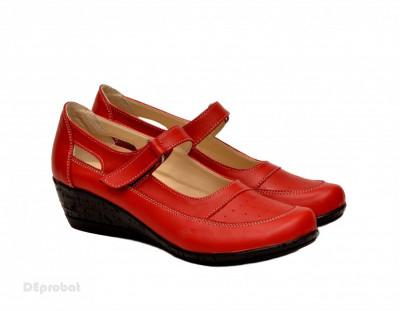 Pantofi dama piele naturala rosii cu platforma cod P15R - Made in Romania foto