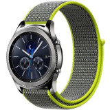 Curea ceas Smartwatch Garmin Fenix 5, 22 mm iUni Soft Nylon Sport, Grey-Electric Green