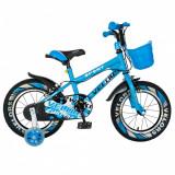 Bicicleta baieti Velors V1401A 14 C-Brake cu cosulet si roti ajutatoare led 3-5 ani albastrualb
