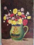 Vas cu flori, acrilic pe carton gros, nesemnat, 25 x 35 cm, fara rama