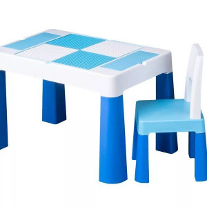 Masa multifunctionala + scaun, bleu, 76x50x21 cm - TUPIKO