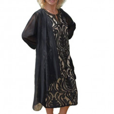Rochie eleganta din dantela neagra cu captuseala fina bej