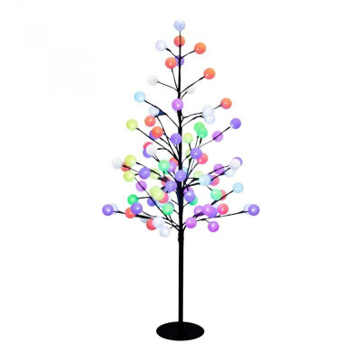 Copac decorativ 100 cm cu globuri bumbac, multicolor, 88 LED-uri RGB, IP44 foto
