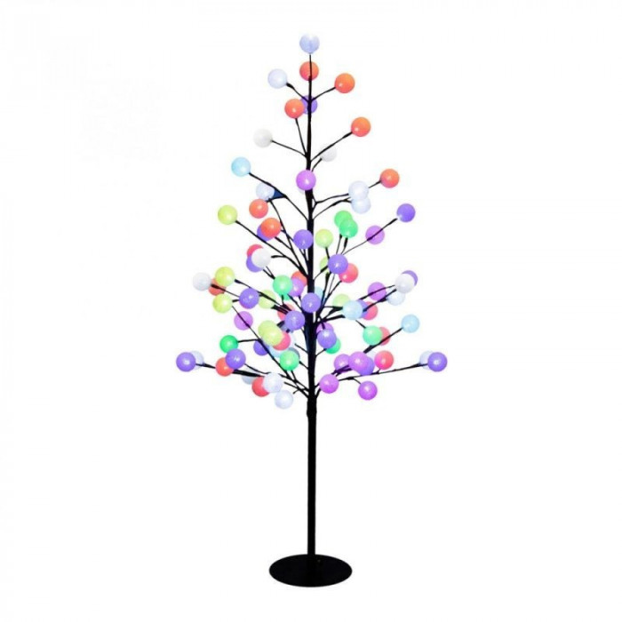 Copac decorativ 100 cm cu globuri bumbac, multicolor, 88 LED-uri RGB, IP44