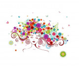 Sticker decorativ, Girl butterfly flowers 85 cm, 152STK