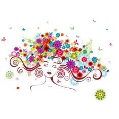 Sticker decorativ, Girl butterfly flowers 85 cm, 152STK