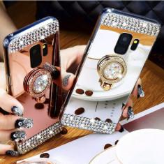 Husa Silicon oglinda cu pietricele si inel pt Samsung Galaxy S9 / S9+ / S9 Plus