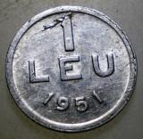 7.667 ROMANIA RPR 1 LEU 1951, Aluminiu