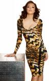 Cumpara ieftin K759A-99 Rochie sexy cu decolteu si imprimeu animal print