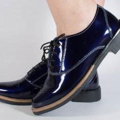 Pantofi bleumarini piele lacuita (cod SPF02)