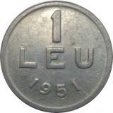Romania, 1 leu 1951 * cod 102, Aluminiu