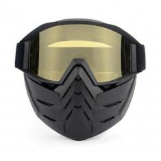 Masca protectie fata, plastic dur + ochelari ski, lentila galbena, GD02