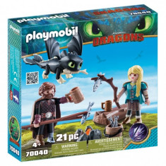 Playmobil Dragons - Hiccup, Astrid si pui de dragon