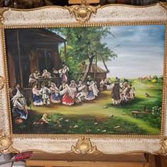 Tablou ulei pe panza  - Hora satului, Peisaje, Realism