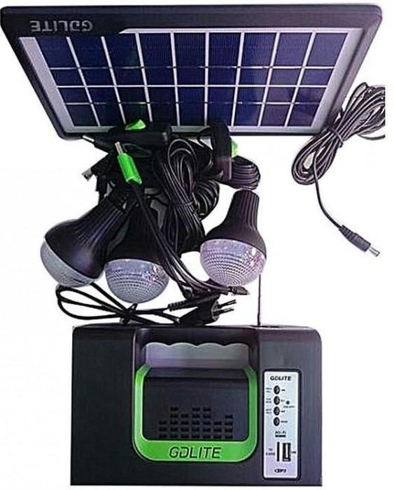 Panou solar Kit Solar 3 Becuri Radio USB MP3 Lanterna LED