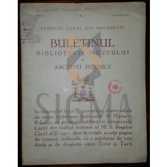TEMPLUL CORAL DIN BUCURESTI - REDACTOR M. A. HALVEY - BULETINUL BIBLIOTECII, MUZEULUI SI ARCHIVEI ISTORICE, 1936